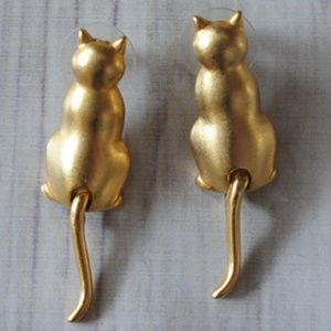 vintage JJ gold cat earrings J.J. tails move